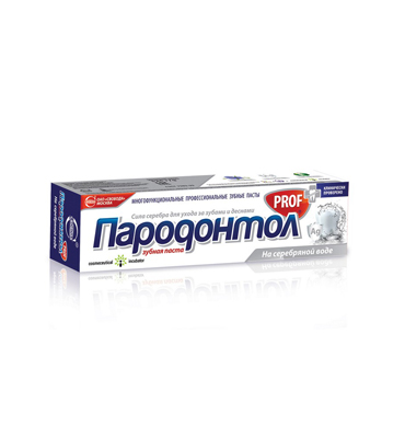 "Toothpaste ""Parodontol PROF"" on a silver water"